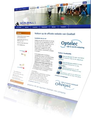 Printscreen van de website Goalball.nl