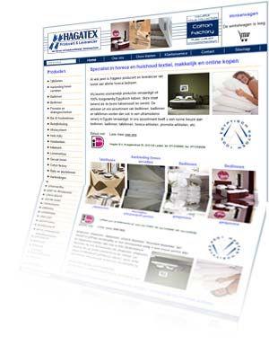 Printscreen van de website Hagatex.nl