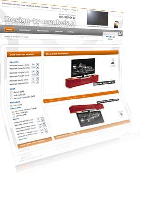 Printscreen van de website Design-tv-meubels.nl